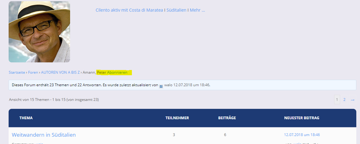 Screenshot: Forum abonnieren